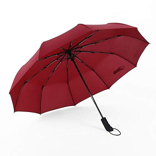 Paraplu 10 Rib Sterk Versterkt Winddicht Frame Dubbele Luifel Reguleert Windstoten Klein Compact Opvouwbaar Auto Open Sluiten,Red