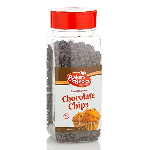 Chocolate Flavored Mini Chocolate Chips – Baking Ingredient, Topping and Decoration Candy for Ice Cream, Desserts and Baked Goods, Non Dairy, Kosher - 9 oz. - Baker's Choice