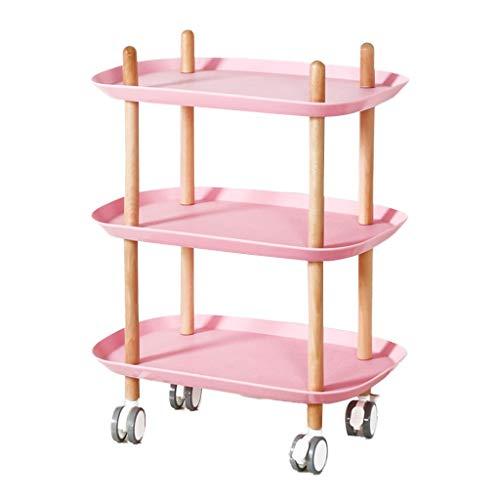 HWHui 3-Tier del balanceo de la porción carros, plástico de mesa de madera maciza piernas utilidad de la carretilla de cocina del balanceo de la compra del café del restaurante del hotel comedor Cesta