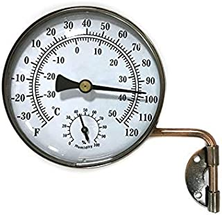 4-Inch Brass Swivel Thermometer with Humidity Function