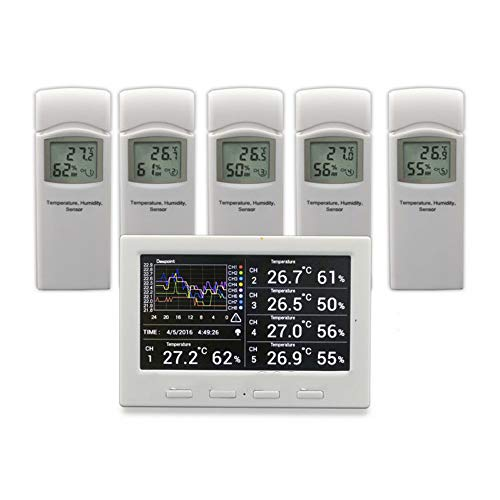 QWERTOUR Wireless weather station with 5 sensors, 5 channels, color screen,...
