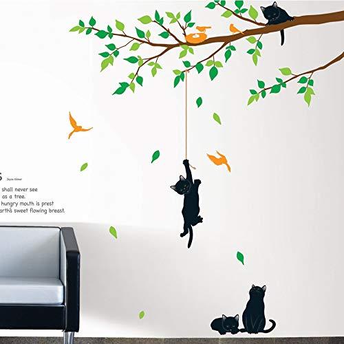 Ambiance-Live Wandtattoo Baum und Katzen