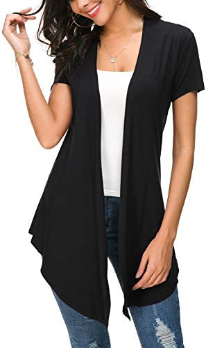 Womens Solid Open Front Short Sleeve Cardigan L Black product image