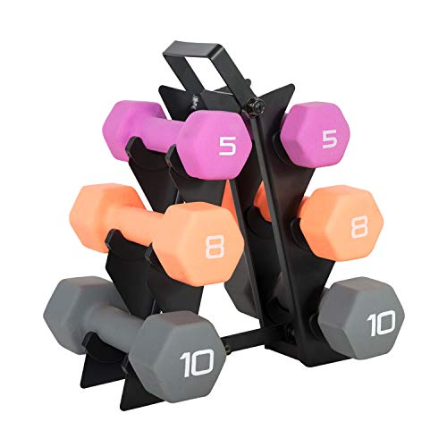 Neoprene Dumbbell Pairs and Sets with Stands,Hexagonal cast Iron Dumbbells 46LBs(5LBs 8LBs 10LBs)