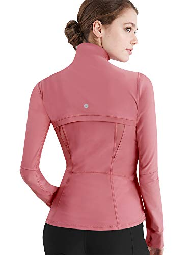 Womens Running Shirt Full Zip Workout Track Pink Jacket with Thumb Holes