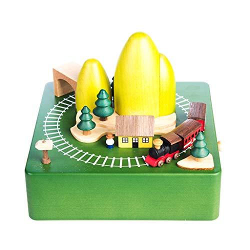 Dongxiao Caja de música para reloj musical The Train Goes Around The Cave para regalo de cumpleaños para niñas y niños como regalo de decoración musical (color verde)