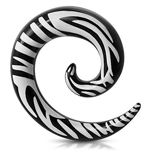 Tata Gisèle - Dilatador de oreja de acero quirúrgico – Dilatador de espiral negro cebra – 6 mm