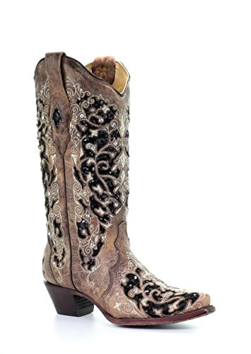 Corral Women's Black Inlay Floral Embroidery Studs Leather Cowgirl Boots - Brown