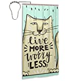 Lindo gato de dibujos animados con palabras en inglés Forro de cortina de ducha con 12 ganchos Juego de cortina de ducha Cortinas de baño impermeables lavables a máquina para el hogar Spa Hotel Baño