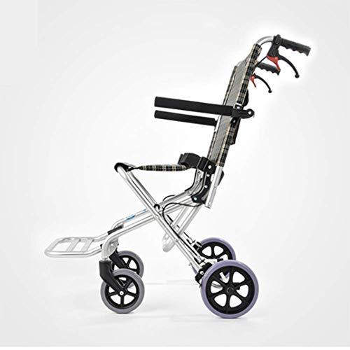 Ultraleichter Aluminiumlegierungs-faltender tragbarer Rollstuhl, Reise-tragbarer Flugzeug-Rollstuhl-Spaziergänger der älteren Kinder fj