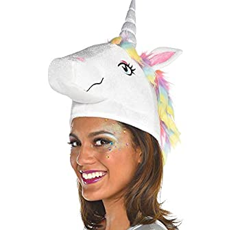 SUIT YOURSELF Unicorn Hat for Adults One Size Features a Unicorn Head with a Multicolor Mane and an Iridescent Horn