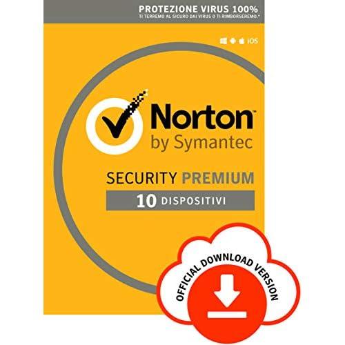Norton Security Premium Antivirus Software 2019 | 10 Dispositivi (Licenza di 1 anno) | Compatibile con Mac, Windows, iOS e Android | Codice d'attivazione via email