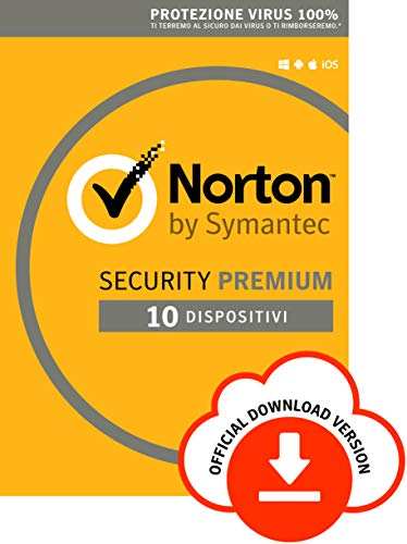 Norton Security Premium Antivirus Software 2019 | 10 Dispositivi (Licenza di 1 anno) | Compatibile con Mac, Windows, iOS e Android | Codice d'attivazione via email