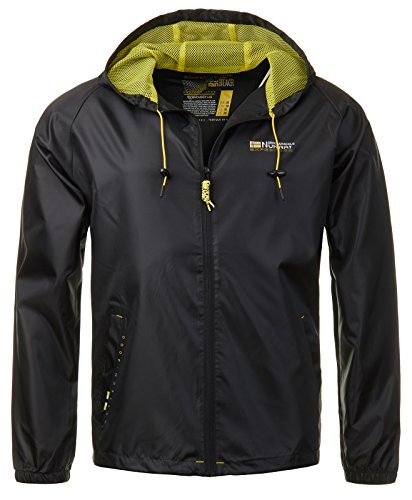 Geographical Norway Herren Regen Jacke Übergangs Windbreaker Outdoor Regenjacke [GeNo-18-Schwarz-Gr.L]