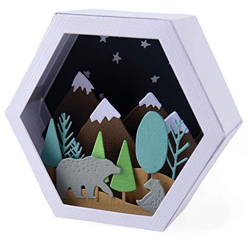 Sizzix Die 28PK Winter Scene Set di Fustelle Thinlits 28 pz 664582 Scatola, Invernale by Jessica Scott, Scena Box-Inverno, Taglia unica