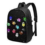 Jiaolun Crewmates Among Us Game Printed Fashion Trend Backpack With Usb Port For Office, Outdoor, Travel, School Black…