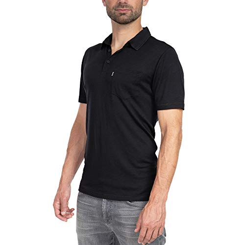 Woolly Clothing Men's Merino Wool Polo Shirt - Ultralight - Wicking Breathable Anti-Odor S BLK