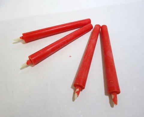 和ろうそく 型和蝋燭 ローソク【朱】 棒 4号 朱色 25本入り 約14センチ 約1.5時間燃焼