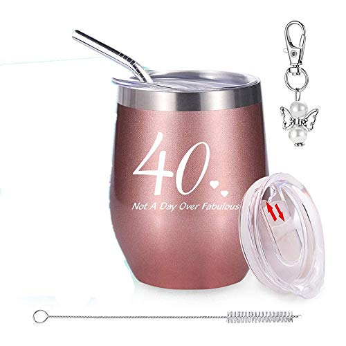 40th Birthday Gifts for Women, Wine Tumbler with Funny Saying | Not A Day Over Fabulous,12 oz...