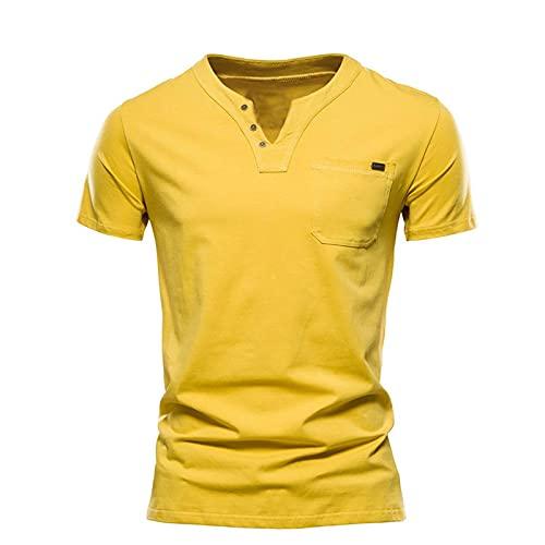 Camisetas para hombre de verano Slim V-cuello Color sólido Tops manga corta con bolsillos en el pecho gimnasio al aire libre Yoga Tops hombres marca Polo Chic