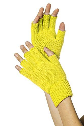 Strick-Handschuhe, fingerlos, Neon-Gelb