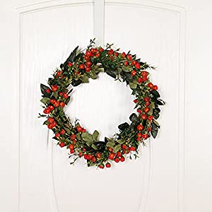 Silk Flower Arrangements Mokyler Artificial Flower Wreath, Front Door Wreath Wall Wreath Faux Fragrant Snowball Wreath Hanging Pendant Fake Floral Garland for Home Holiday Wedding Party Decor (Red, 15.7In)