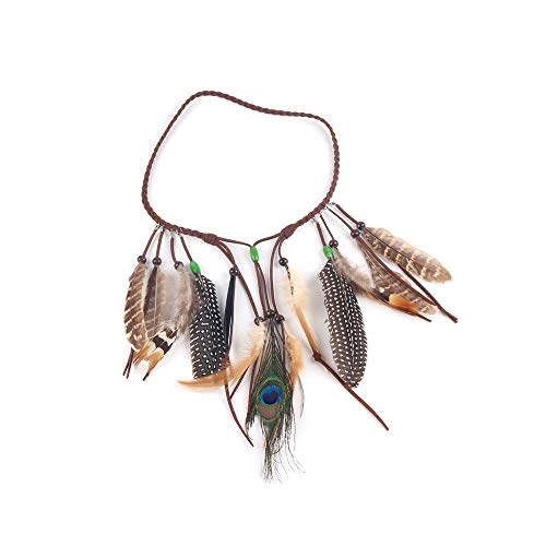 Indian Feather hoofdband Tassel Bohemian haarband Festival hoofdtooi Ajustable Vintage Elegant Feather hoofdband Haar accessoires voor vrouwen Girls Ladies Carnaval Bonfire Party Fotografie