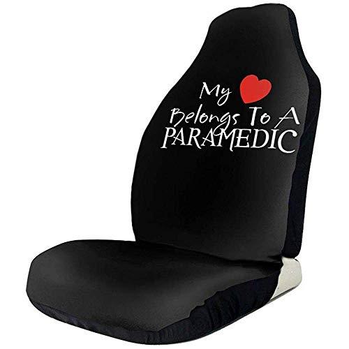 MOLLUDY 2 PCS, My Heart pertenece a un paramédico Fundas de asientos de automóvil universales Protectores de asientos delanteros para automóviles, camiones y SUV
