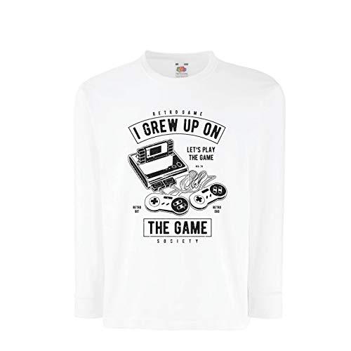 lepni.me T-Shirt Bambini/Ragazze Giochiamo al Gioco, società di Videogiochi retrò (14-15 Years Bianco Multicolore)