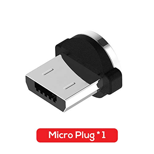 HUWOYMX 2.4A 1M(3.3ft) LED Magnetic Micro USB Cable Premium Nylon Braided USB Type C Cable for iPhone Samsung Xiaomi L Type Micro USB Cable (Black,Only Micro Plug)