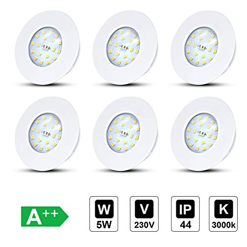 LED badeinbaustrahler ultra flach 5W 230V, IP44 LED Einbauleuchte Warmweiß 3000K, Bad Einbauspots Einbauleuchten Badleuchten, 30mm, 500lm, Rund Weiß, 6er Set