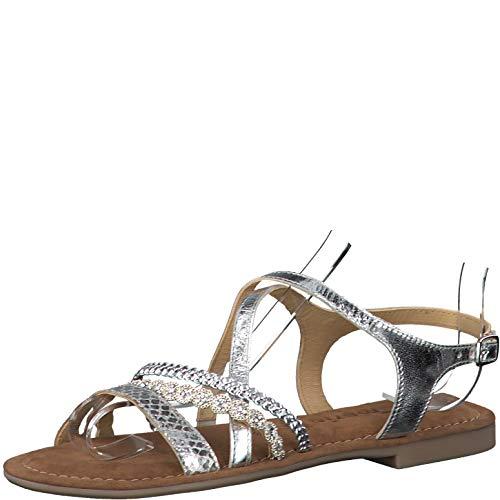 Tamaris Damskie sandały 28146-24, sandały z paskiem, srebrny - srebrny - 41 EU