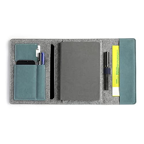 HillSee - Tagebuch Schutzhülle A5 multifunktionelle Federmäppchen mit Handyhülle und Stiftehalter Terminkalender Organizer Notizbuch Umschlag aus hochwertige Designer Filz, 24x16cm - Seeblau