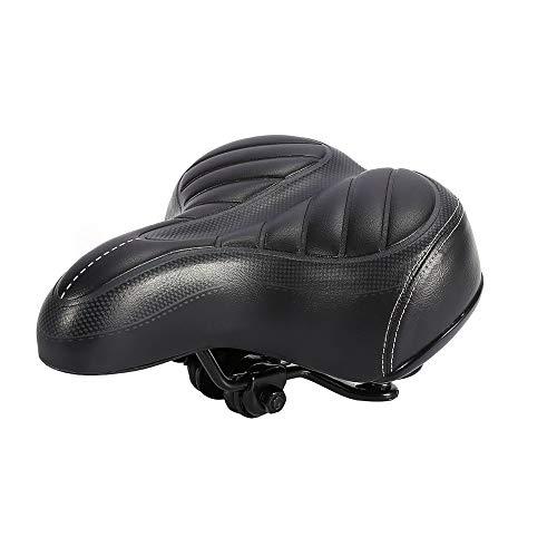 Fietszadel – comfortabele fietstoel, ultra zacht kussen dikkere bergfiets matzwarte zitting universele pasvorm voor indoor/outdoor bikes
