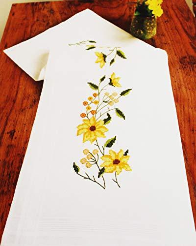 Kamaca Stickpackung Sonnenschein Kreuzstich vorgezeichnet aus 100% Baumwolle Stickdecke Tischläufer 40x100 cm Stickset mit Stickvorlage
