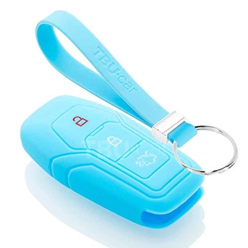TBU car Funda Carcasa Llave Compatible con Ford - Funda de Silicona - Cover de Llave Coche - Azul Claro