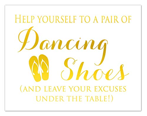 wedding sign dancing shoes for guests, flip flop sign, gold foil print, Reception Decorations