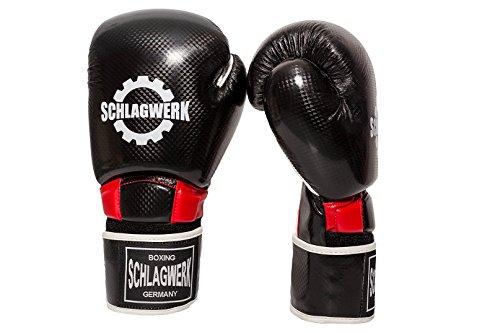 SCHLAGWERK PSC Boxhandschuhe aus Kunsteder, 10 Unzen im Carbonlook für Männer Frauen Kinder Schwarz/Rot/Weiß