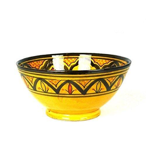 Orientalische marokkanische Keramikschale Keramik Obst Salat Reis Schale Schüssel Deko groß Color Gelb