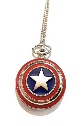 giulyscreations Collana Orologio Captain America Scudo Metallo Nichel Free Ispirato Capitan America Supereroi Avengers The Winter Soldier Steve Rogers Fantasy Cosplay