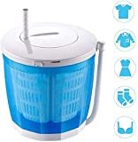 LLDKA Lave-Linge Camping, Mini déshydrateur Manuel Simple Capacité 3 kg Sèche-Linge Sec Crank Non pour Camping Chambre électrique,Bleu
