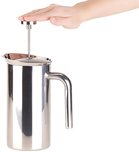 Rosenstein & Söhne Kaffeezubereiter: Thermo-Kaffeebereiter, French-Press, Edelstahl, doppelwandig, 1 Liter (Kaffeepressen)