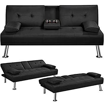 YAHEETECH Linen Fabric Modern Sofa Bed Futon Couch Bed Folding Recliner Sleeper Reversible Loveseat Convertible Daybed 2 Cup Holders 3 Angles 772lb Capacity Removable Armrests Black