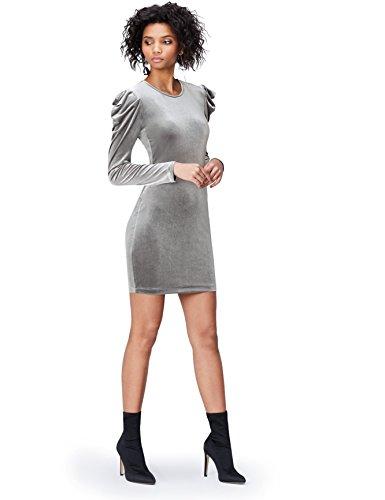 Amazon-Marke: find. Damen Schlauchkleid aus Samt, Grau (Grey), 38, Label: M