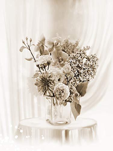 Bilderdepot24 Fototapete selbstklebend Stillleben Blumen in Einer Vase - sephia 360x270 cm
