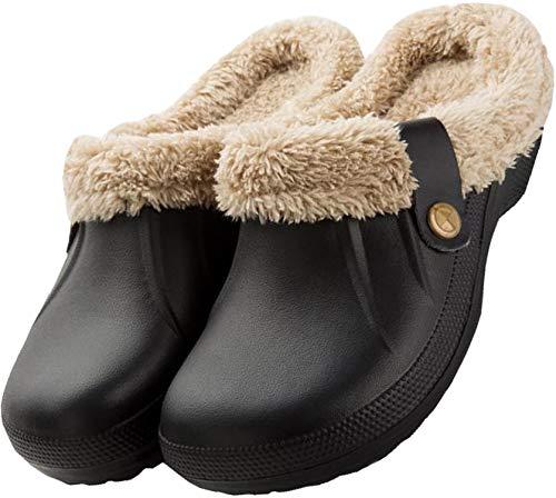 Nzcm Warm Winter Hausschuhe Herren Geschlossen Garten Clogs Gefüttert Gartenschuhe Männer Plüsch Pantoffeln Slip On Haus Home Slippers für Indoor Outdoor Schwarz 43/44 EU = Herstellergröße 44/45