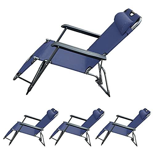 HANNOVER GARDEN Pack de 4 Tumbonas Plegables Reclinables de Playa - Sillas Gravedad Cero de Jardín Exterior - Tumbonas Relax Azul - Medidas 80x61x141 cm
