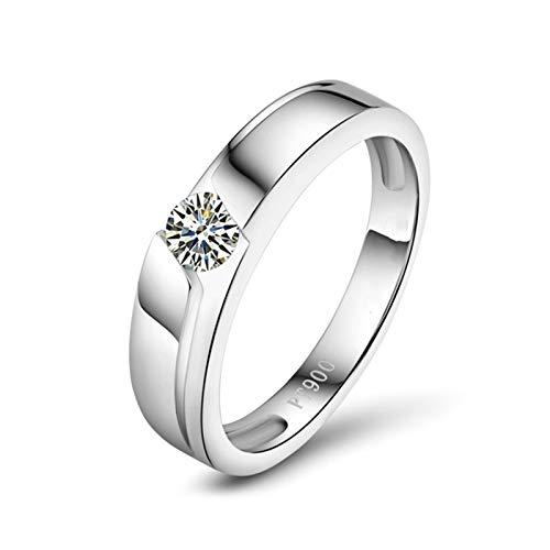 Daesar Anillos Boda Mujer PT900 Platino,Redondo Simple Diamante 0.2ct,Plata Talla 13,5
