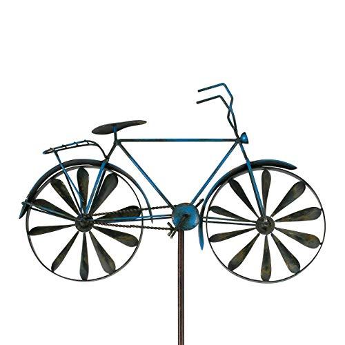 CIM Metall Gartenstecker mit Windrad - Vehicle - wetterfest - mit Antik-Effekt – attraktive Gartendekoration (Blue)