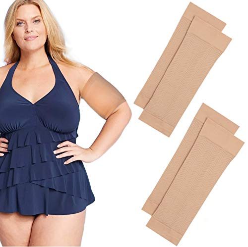 2 Pair Arm Slimming Shaper Wrap  Arm Compression Sleeve for Upper Arms  Helps Tone Flabby Arms amp Lose Arm Fat  Weight Loss For Women Arm Shaper Slimmer  2 Pairs Beige